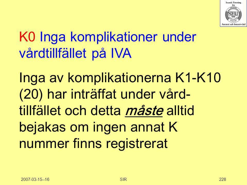 K0 Inga komplikationer under vårdtillfället på IVA
