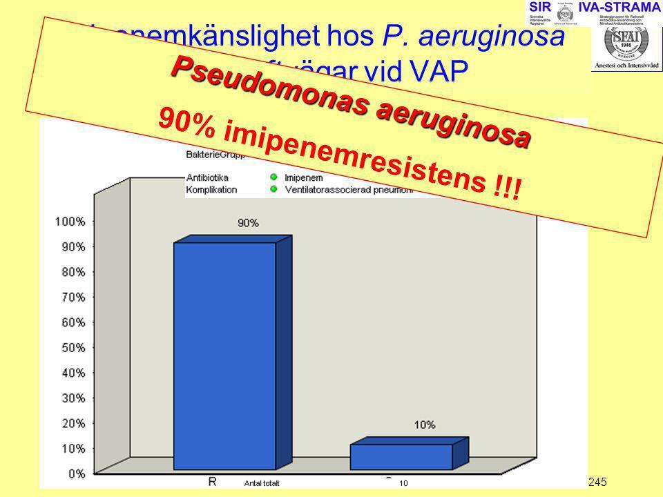 Imipenemkänslighet hos P. aeruginosa isolerade från luftvägar vid VAP