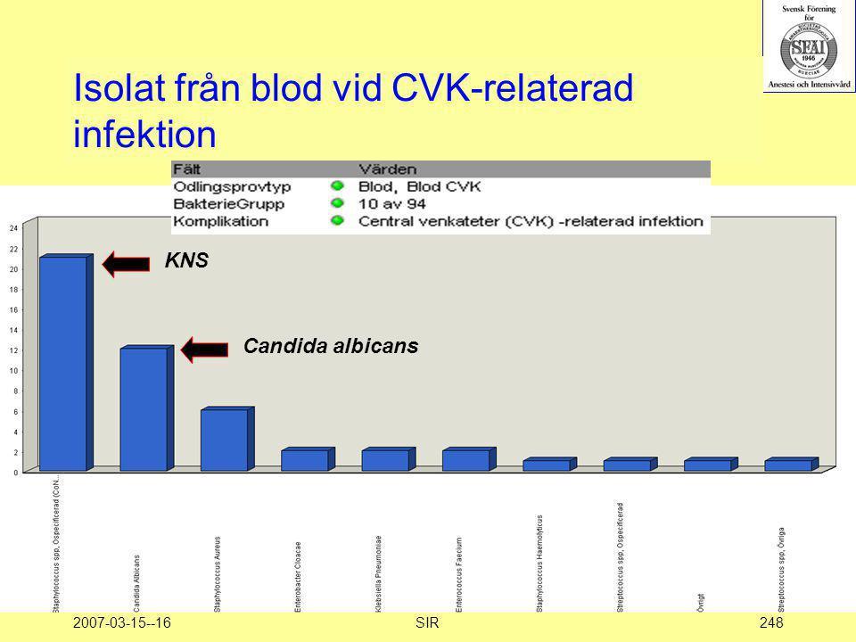 Isolat från blod vid CVK-relaterad infektion