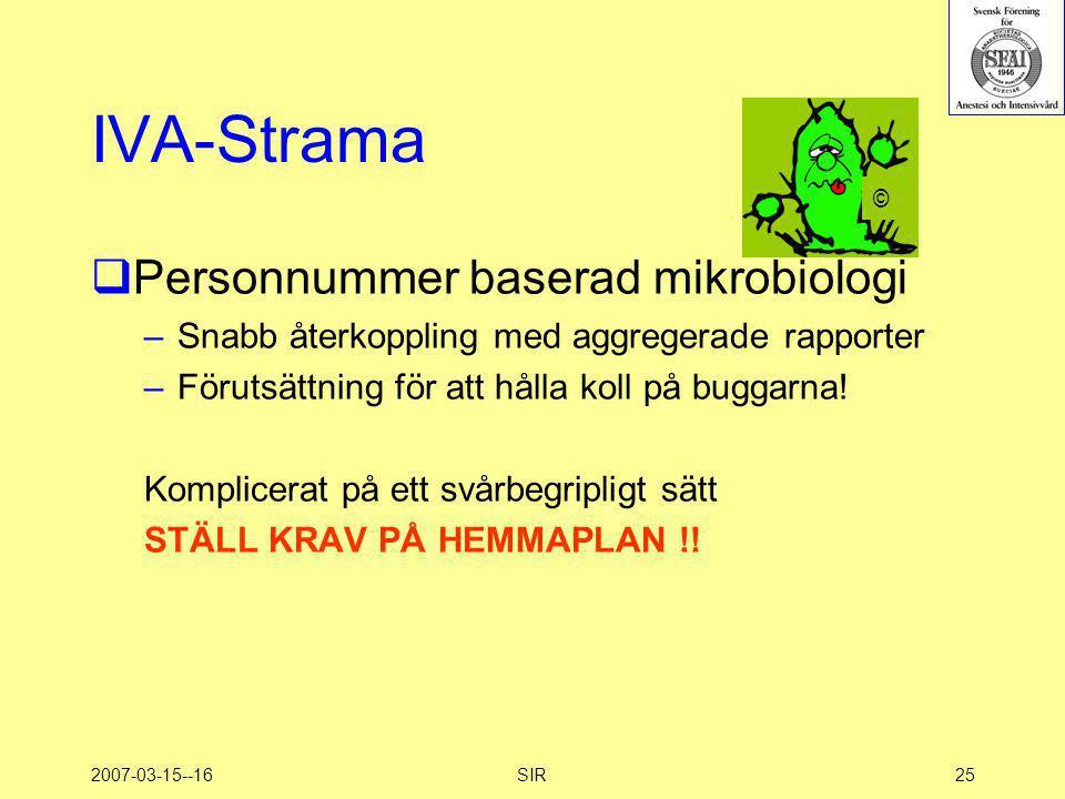 IVA-Strama Personnummer baserad mikrobiologi
