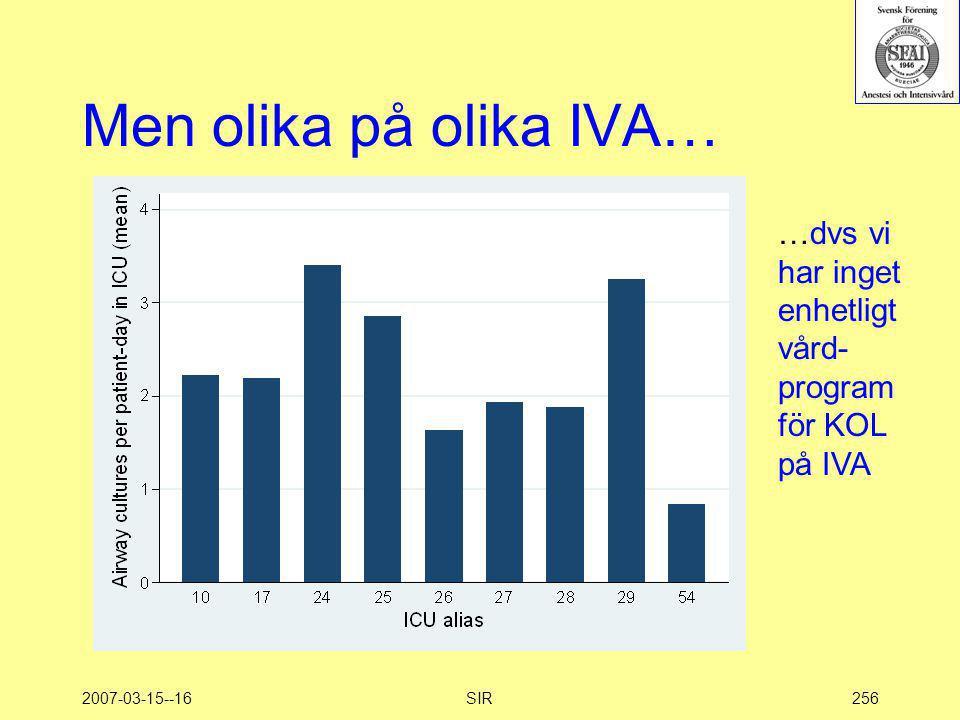 Men olika på olika IVA… …dvs vi har inget enhetligt vård-program för KOL på IVA 2007-03-15--16 SIR
