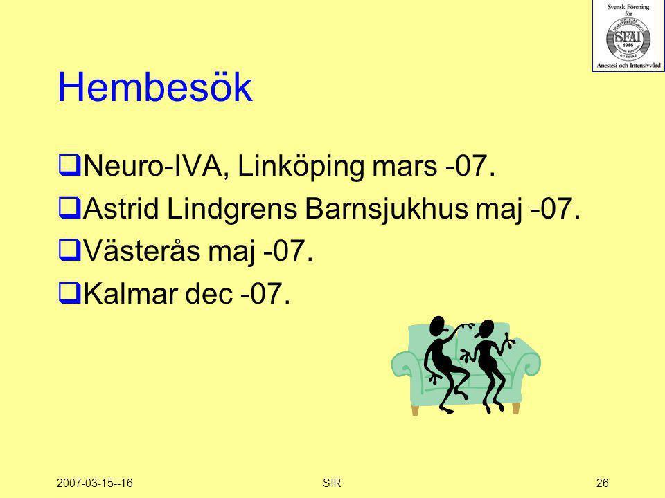 Hembesök Neuro-IVA, Linköping mars -07.
