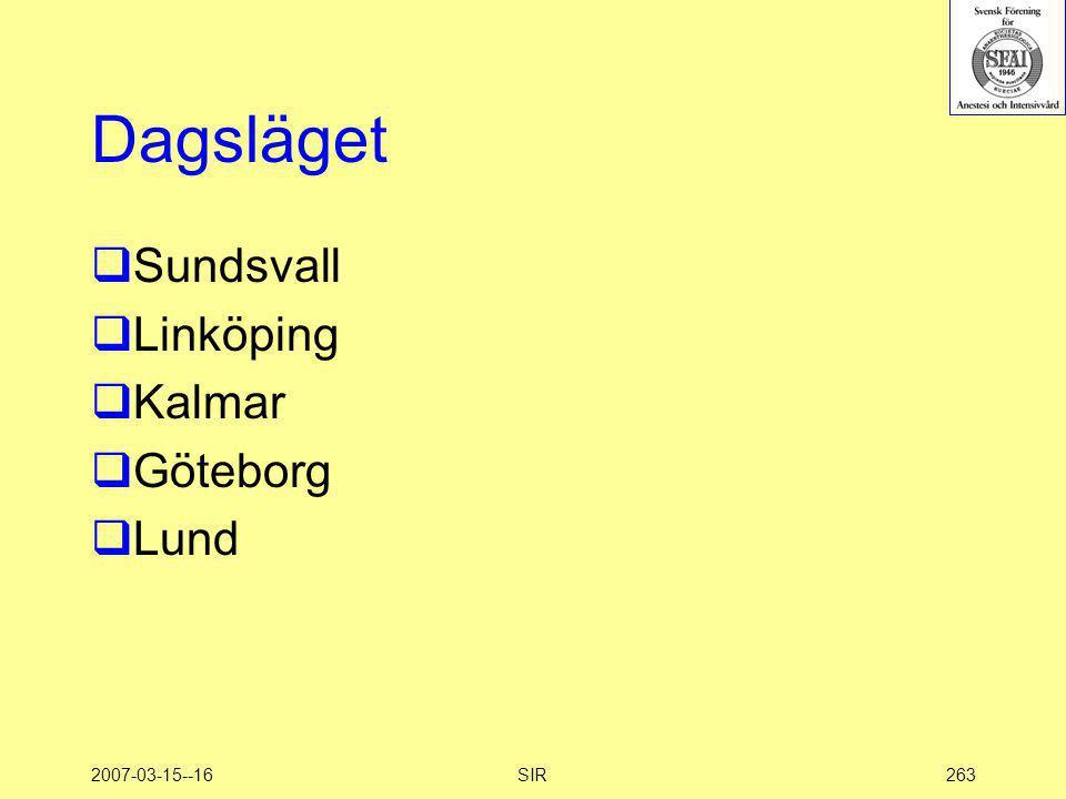 Dagsläget Sundsvall Linköping Kalmar Göteborg Lund 2007-03-15--16 SIR