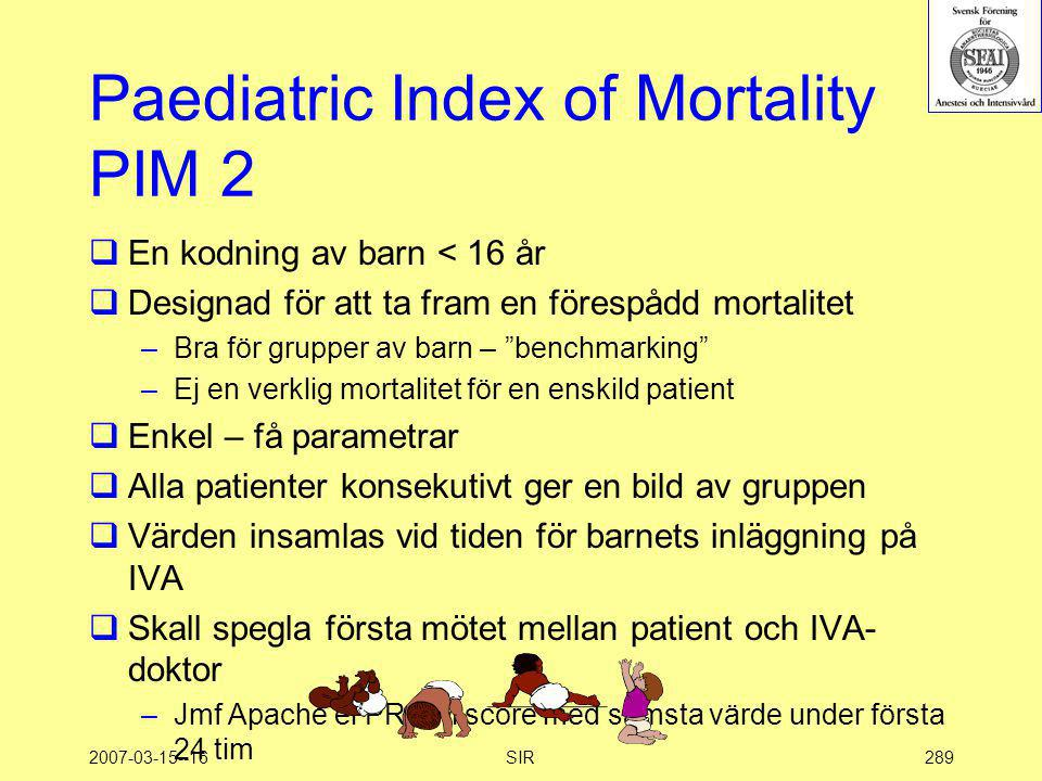 Paediatric Index of Mortality PIM 2