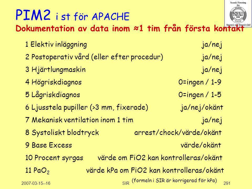 PIM2 i st för APACHE Dokumentation av data inom ≈1 tim från första kontakt