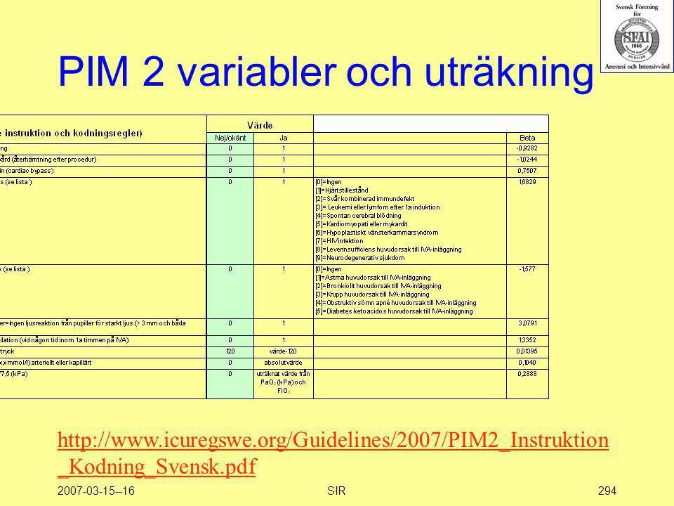 PIM 2 variabler och uträkning