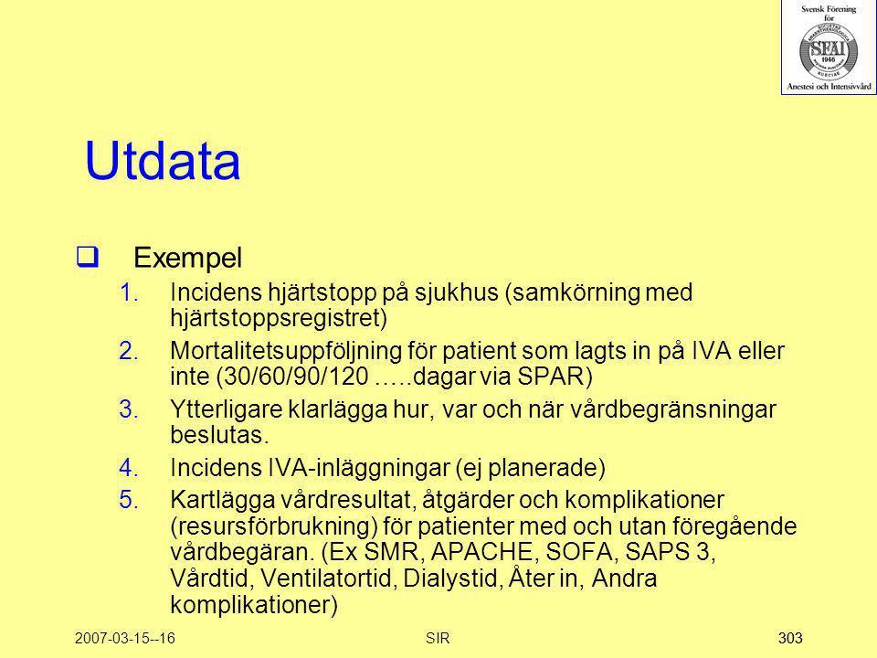 Utdata Exempel. Incidens hjärtstopp på sjukhus (samkörning med hjärtstoppsregistret)