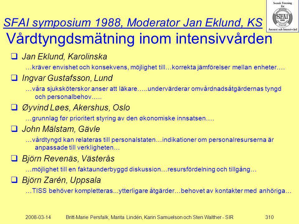 SFAI symposium 1988, Moderator Jan Eklund, KS Vårdtyngdsmätning inom intensivvården