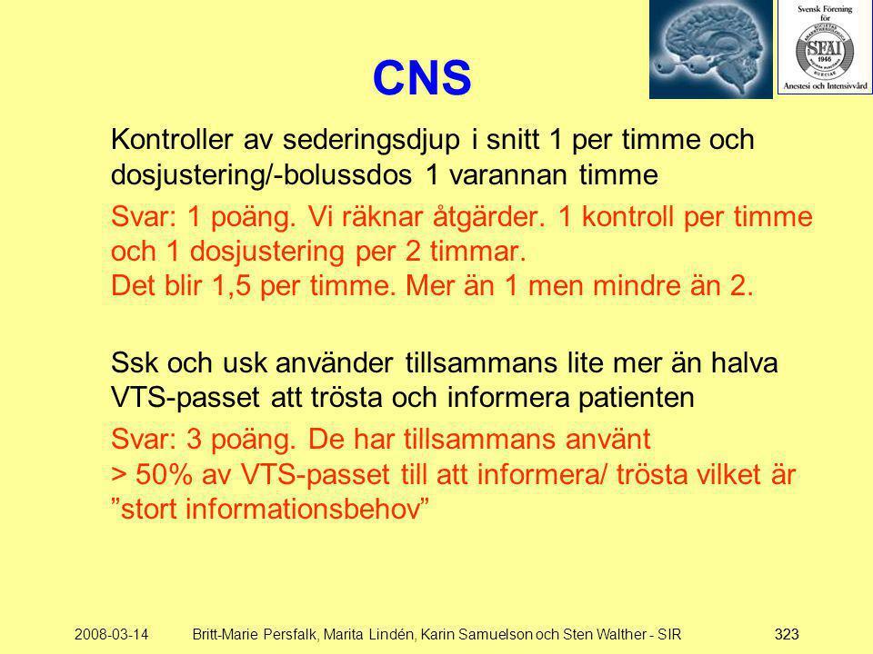 CNS Kontroller av sederingsdjup i snitt 1 per timme och dosjustering/-bolussdos 1 varannan timme.