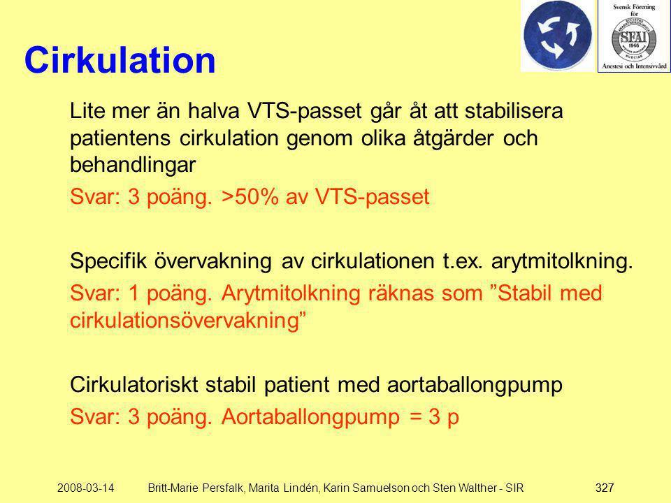 Cirkulation Lite mer än halva VTS-passet går åt att stabilisera patientens cirkulation genom olika åtgärder och behandlingar.