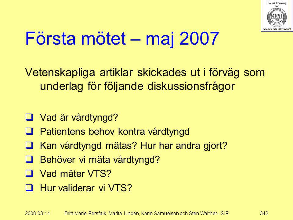 Första mötet – maj 2007 Vetenskapliga artiklar skickades ut i förväg som underlag för följande diskussionsfrågor.