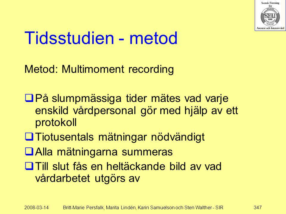 Tidsstudien - metod Metod: Multimoment recording
