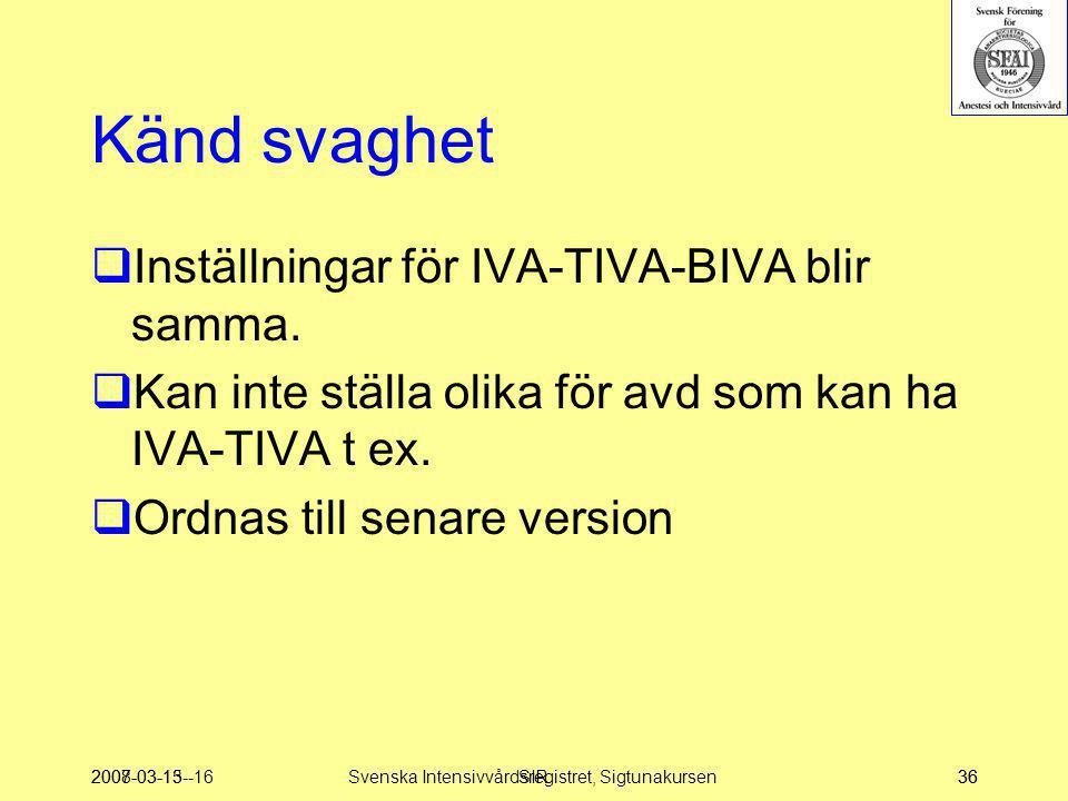 Svenska Intensivvårdsregistret, Sigtunakursen