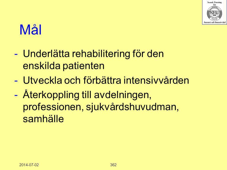 Mål Underlätta rehabilitering för den enskilda patienten
