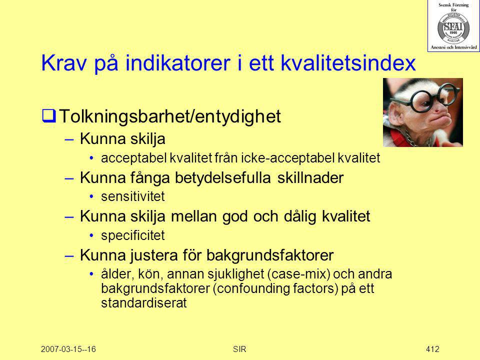 Krav på indikatorer i ett kvalitetsindex