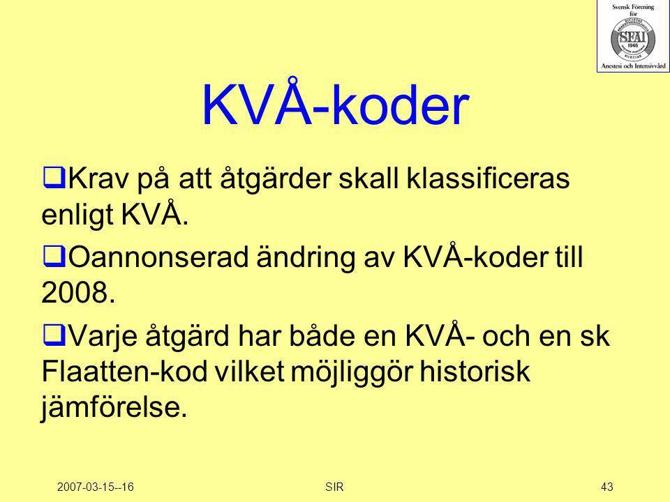 KVÅ-koder Krav på att åtgärder skall klassificeras enligt KVÅ.