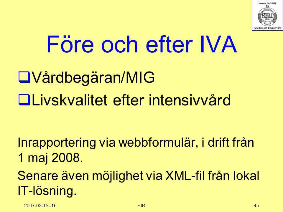 Före och efter IVA Vårdbegäran/MIG Livskvalitet efter intensivvård