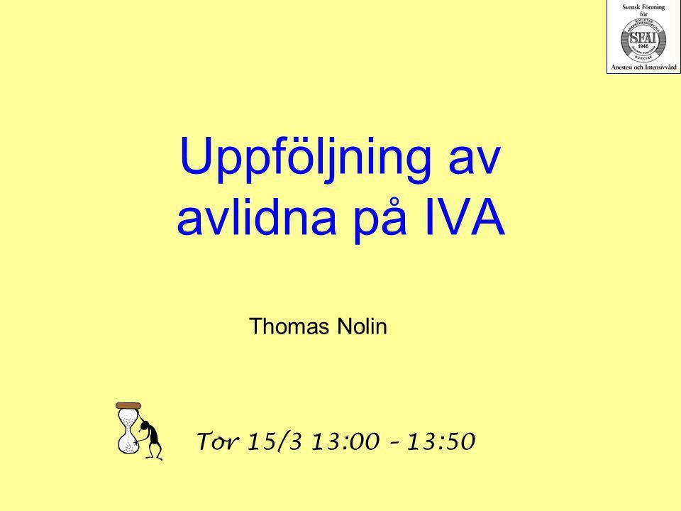 Uppföljning av avlidna på IVA
