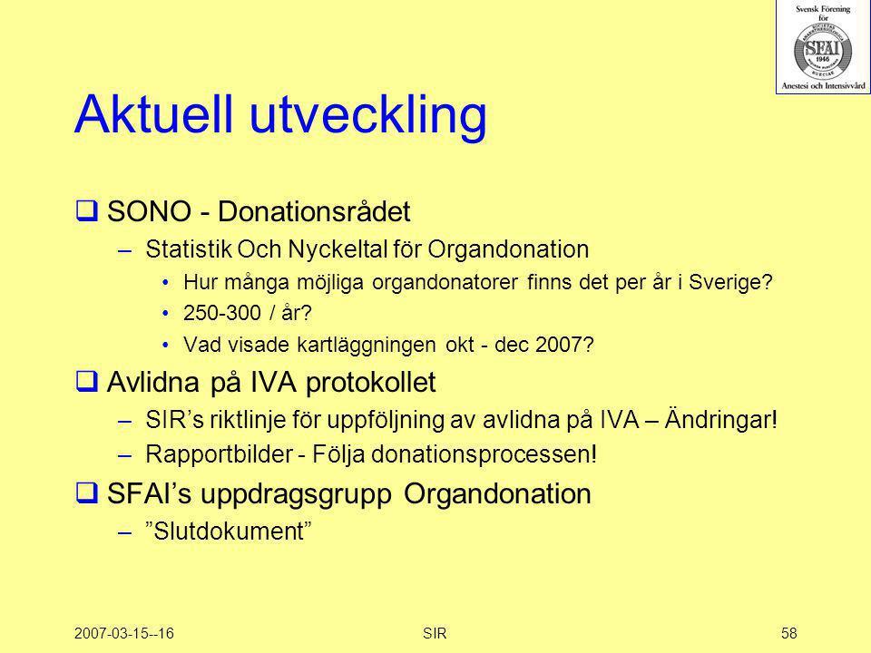 Aktuell utveckling SONO - Donationsrådet Avlidna på IVA protokollet