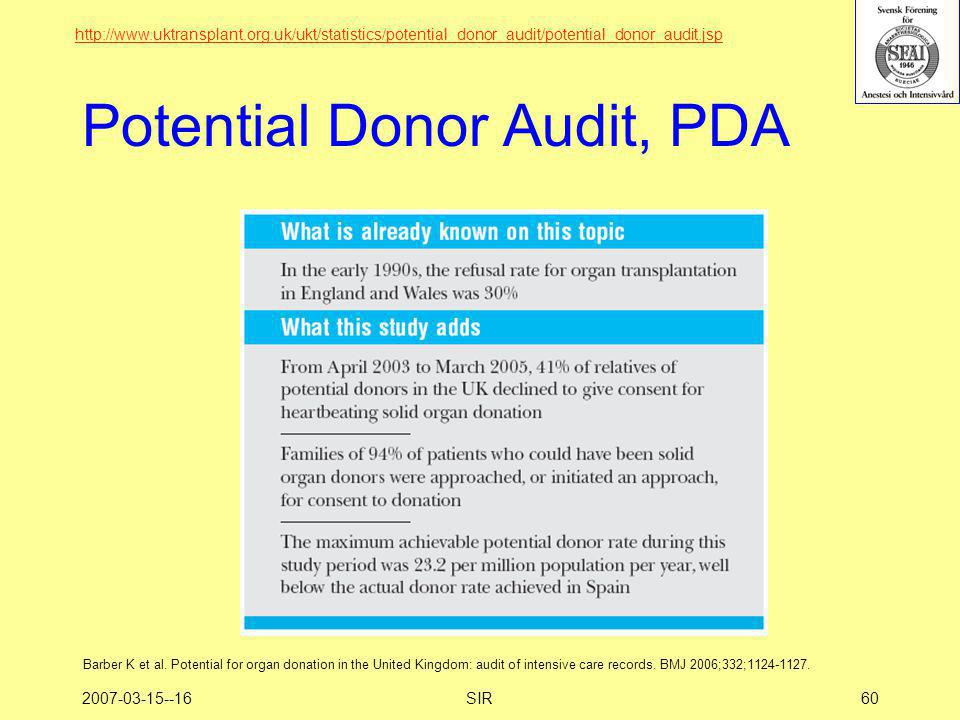 Potential Donor Audit, PDA