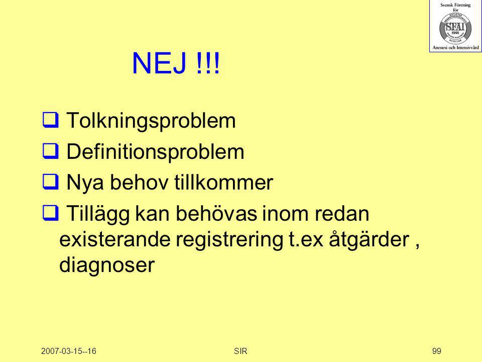 NEJ !!! Tolkningsproblem Definitionsproblem Nya behov tillkommer