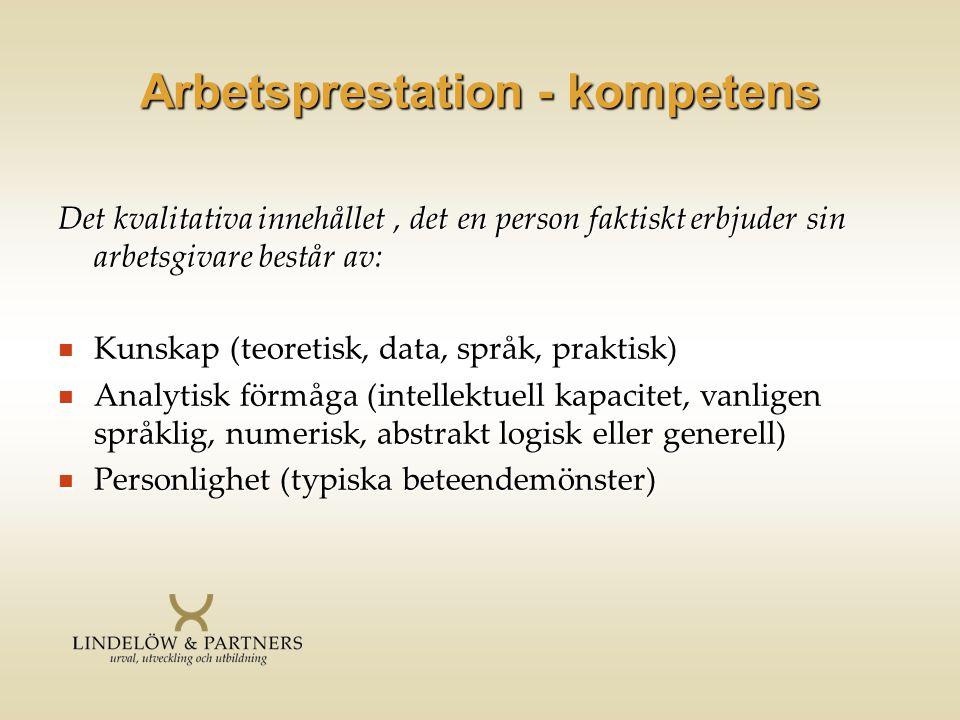 Arbetsprestation - kompetens