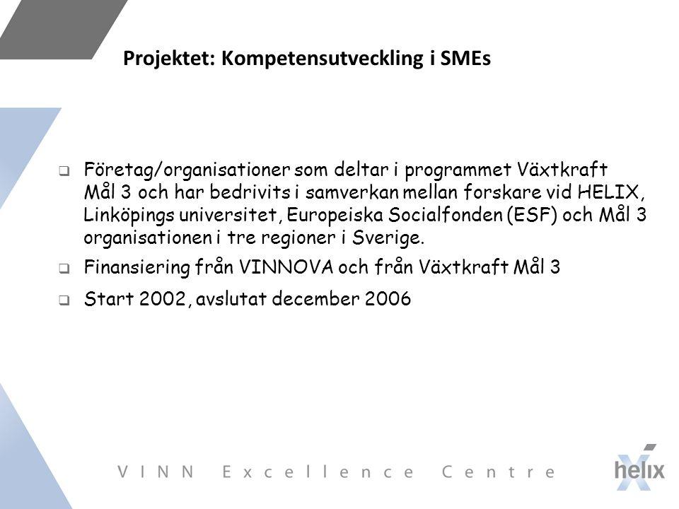 Projektet: Kompetensutveckling i SMEs