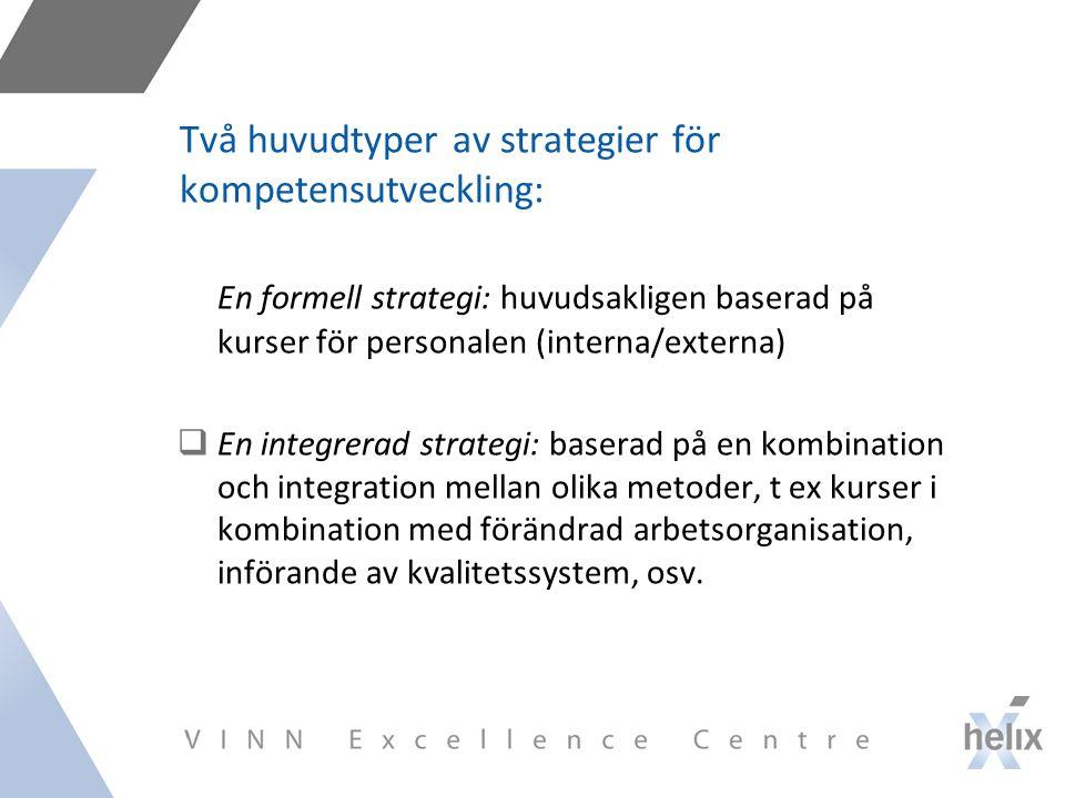 Två huvudtyper av strategier för kompetensutveckling: