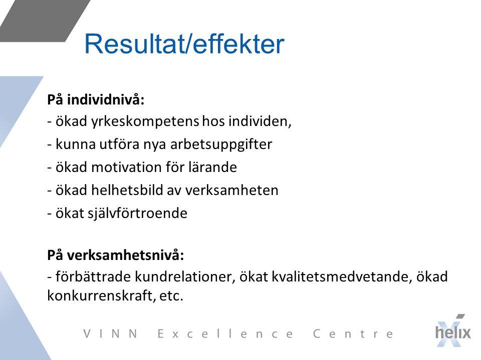 Resultat/effekter På individnivå: - ökad yrkeskompetens hos individen,