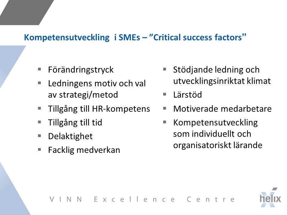 Kompetensutveckling i SMEs – Critical success factors