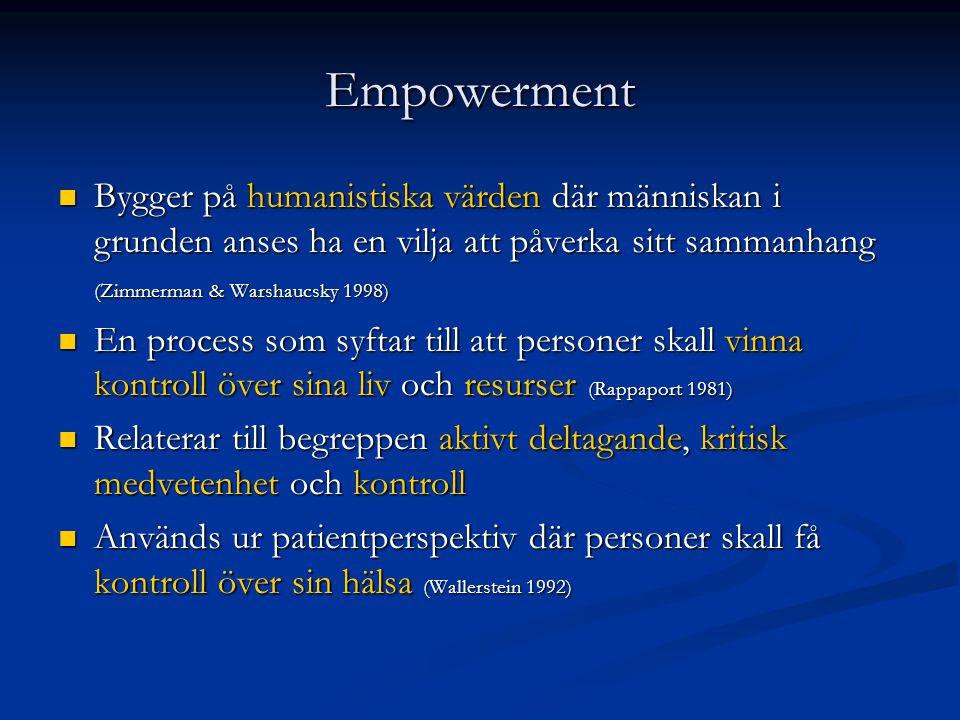 Empowerment Bygger på humanistiska värden där människan i grunden anses ha en vilja att påverka sitt sammanhang (Zimmerman & Warshaucsky 1998)