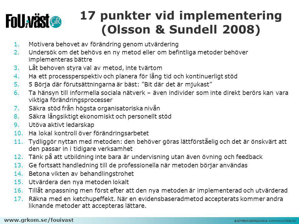 17 punkter vid implementering (Olsson & Sundell 2008)