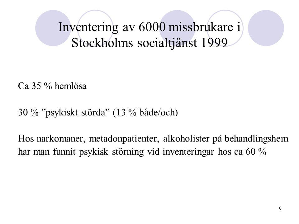 Inventering av 6000 missbrukare i Stockholms socialtjänst 1999