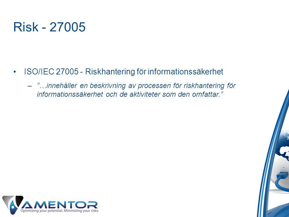 Risk - 27005 ISO/IEC 27005 - Riskhantering för informationssäkerhet