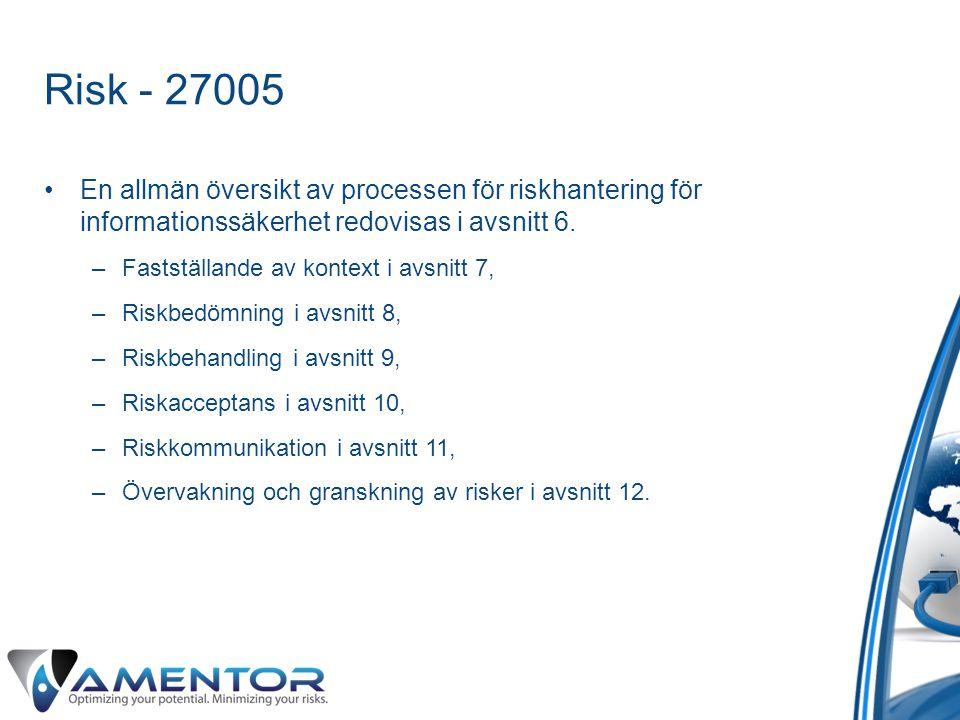 Risk - 27005 En allmän översikt av processen för riskhantering för informationssäkerhet redovisas i avsnitt 6.