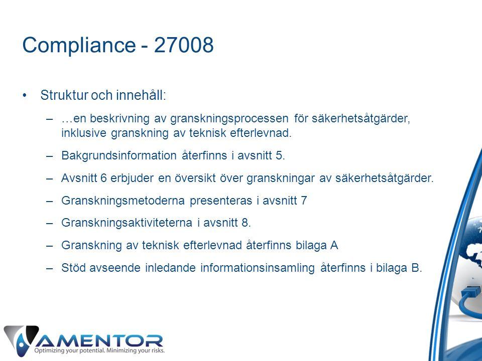 Compliance - 27008 Struktur och innehåll: