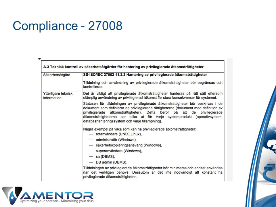 Compliance - 27008