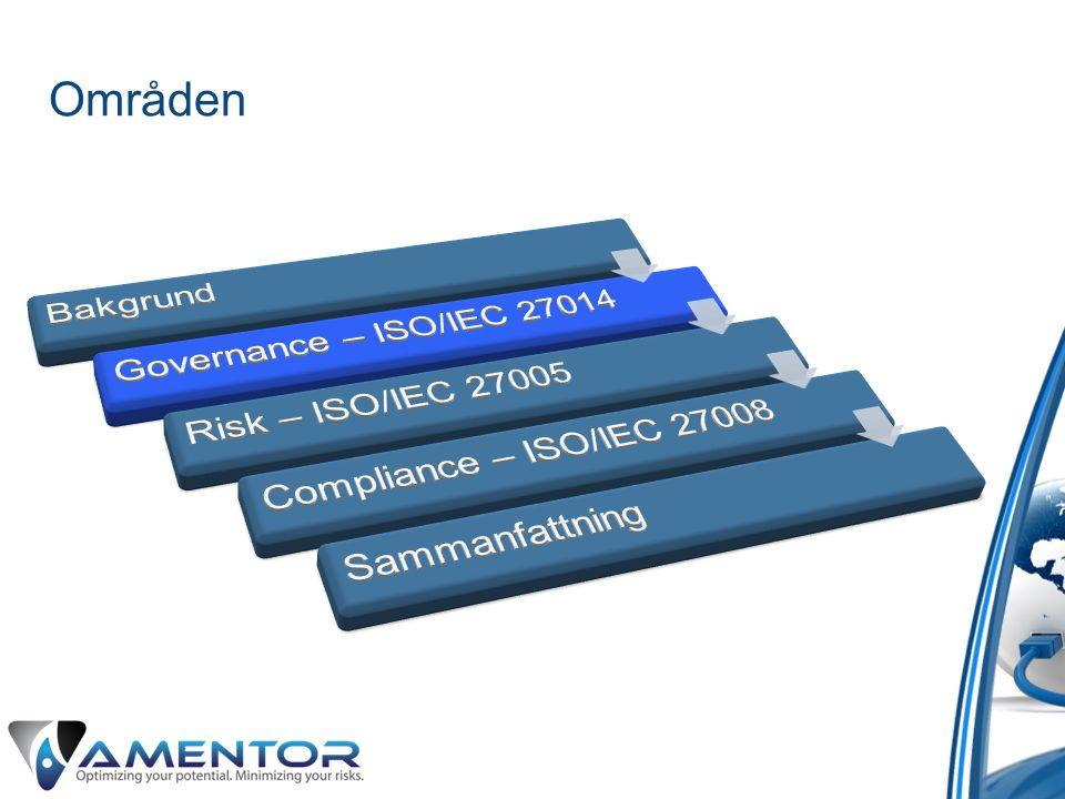 Områden Bakgrund Governance – ISO/IEC 27014 Risk – ISO/IEC 27005