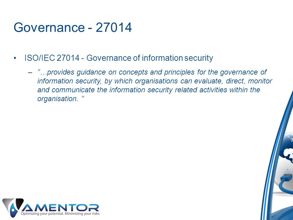 Governance - 27014 ISO/IEC 27014 - Governance of information security