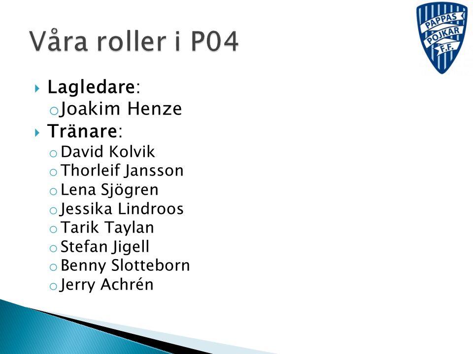 Våra roller i P04 Lagledare: Joakim Henze Tränare: David Kolvik