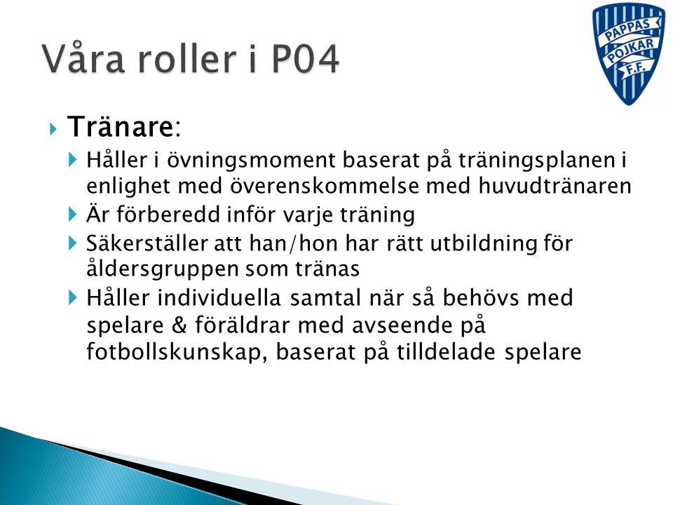 Våra roller i P04 Tränare: