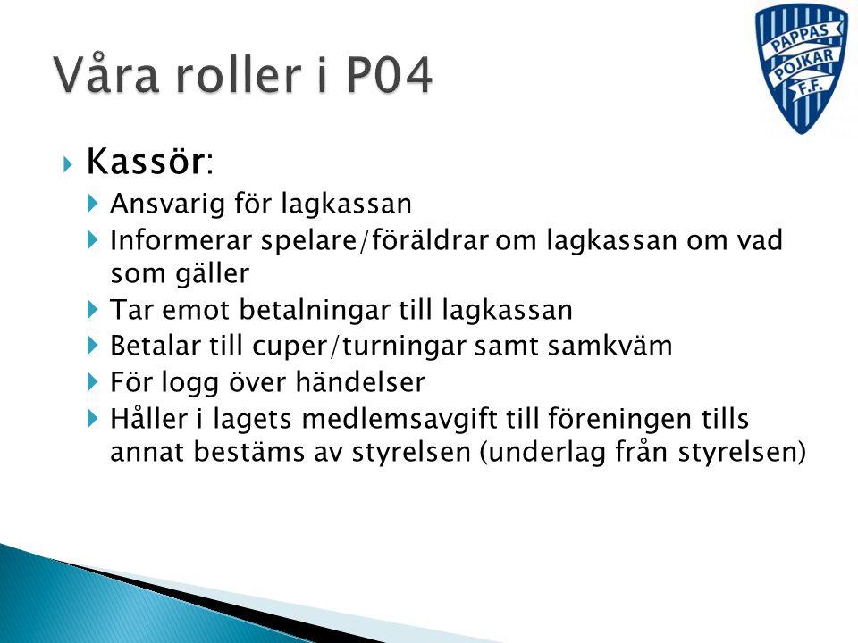Våra roller i P04 Kassör: Ansvarig för lagkassan