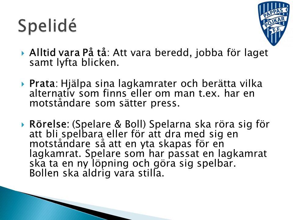 Spelidé Alltid vara På tå: Att vara beredd, jobba för laget samt lyfta blicken.