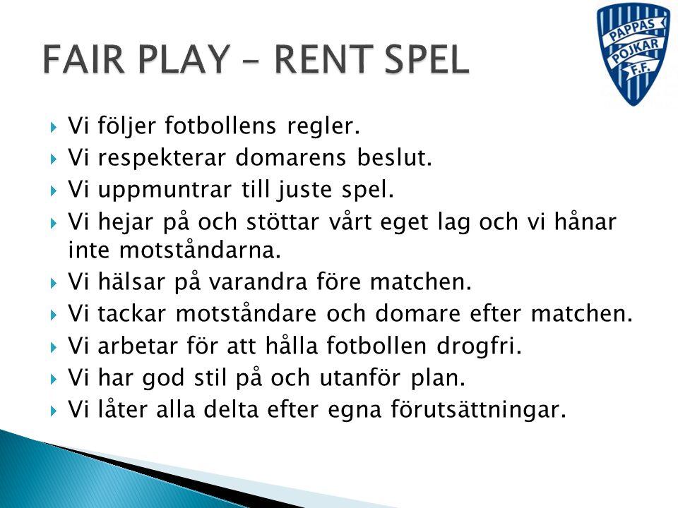 FAIR PLAY – RENT SPEL Vi följer fotbollens regler.