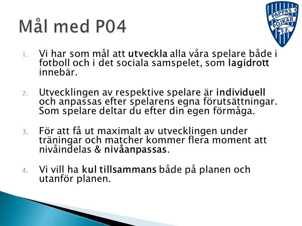 Mål med P04 Vi har som mål att utveckla alla våra spelare både i fotboll och i det sociala samspelet, som lagidrott innebär.