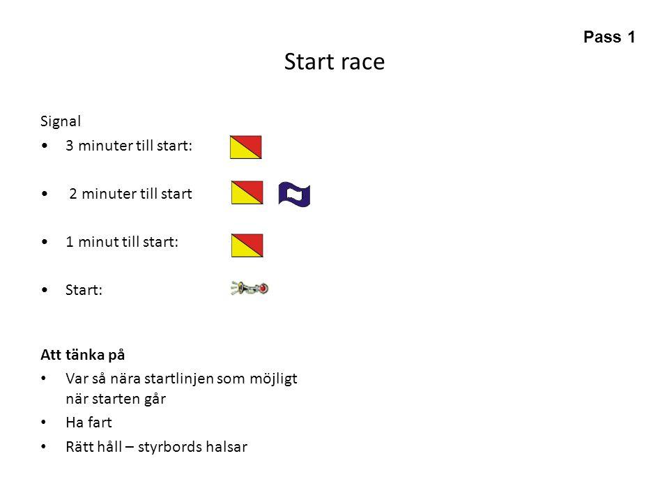 Start race Pass 1 Signal 3 minuter till start: 2 minuter till start