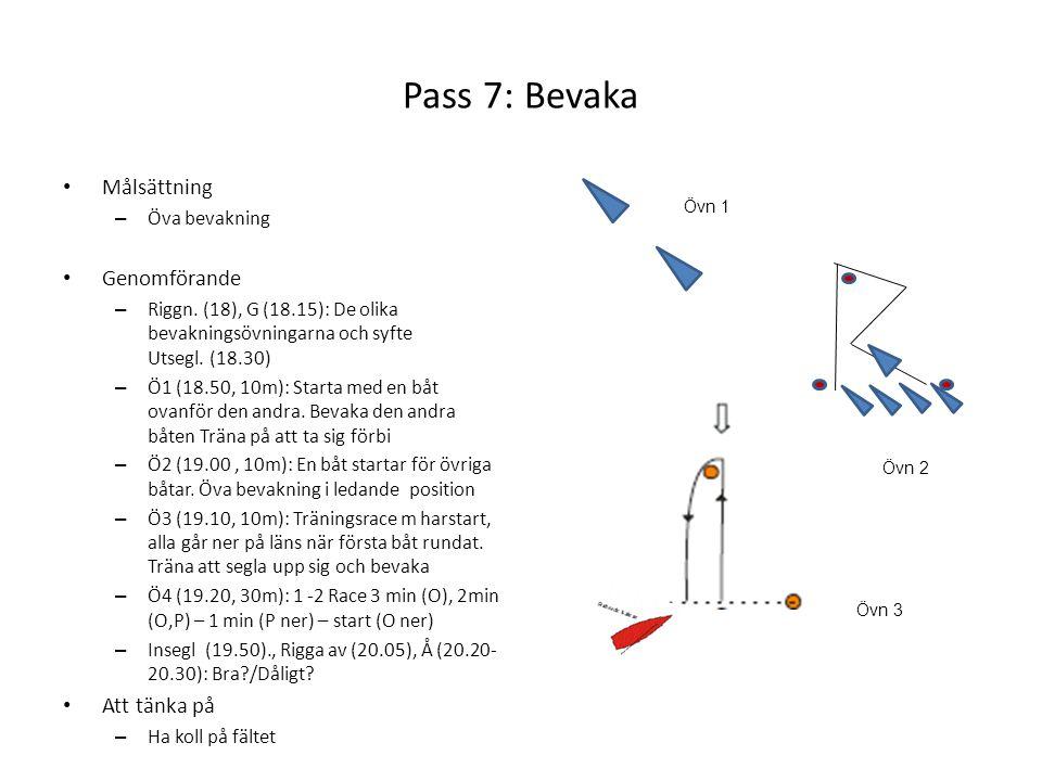 Pass 7: Bevaka Målsättning Genomförande Att tänka på Öva bevakning