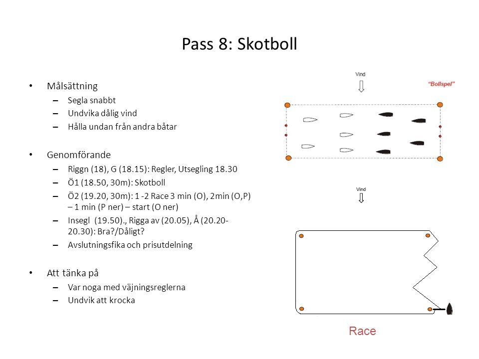 Pass 8: Skotboll Race Målsättning Genomförande Att tänka på