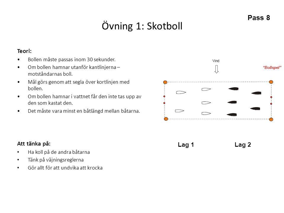 Övning 1: Skotboll Pass 8 Teori: Att tänka på: Lag 1 Lag 2
