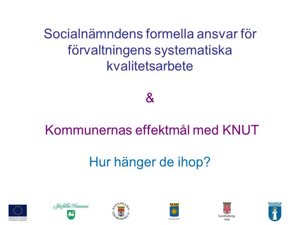 Socialnämndens formella ansvar för förvaltningens systematiska kvalitetsarbete & Kommunernas effektmål med KNUT Hur hänger de ihop